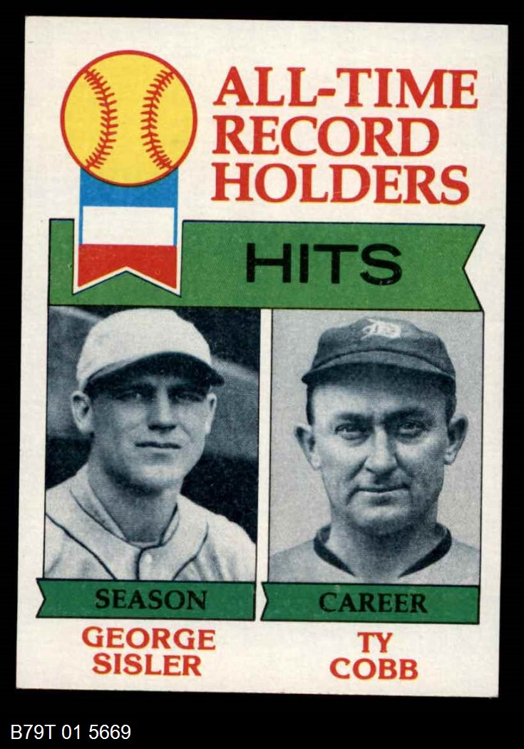1979 Topps #411 All-Time Record Holders - Hits  -  George Sisler / Ty Cobb