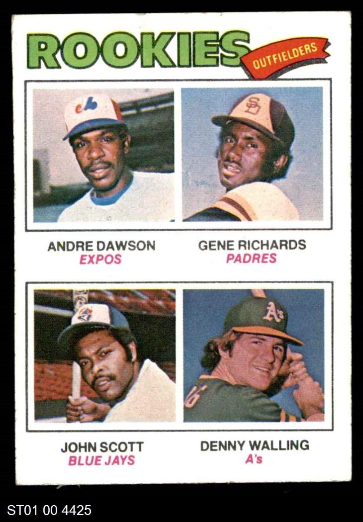 1977 Topps #473 Rookie Outfielders    -  Andre Dawson / Gene Richards / John Scott / Denny Walling