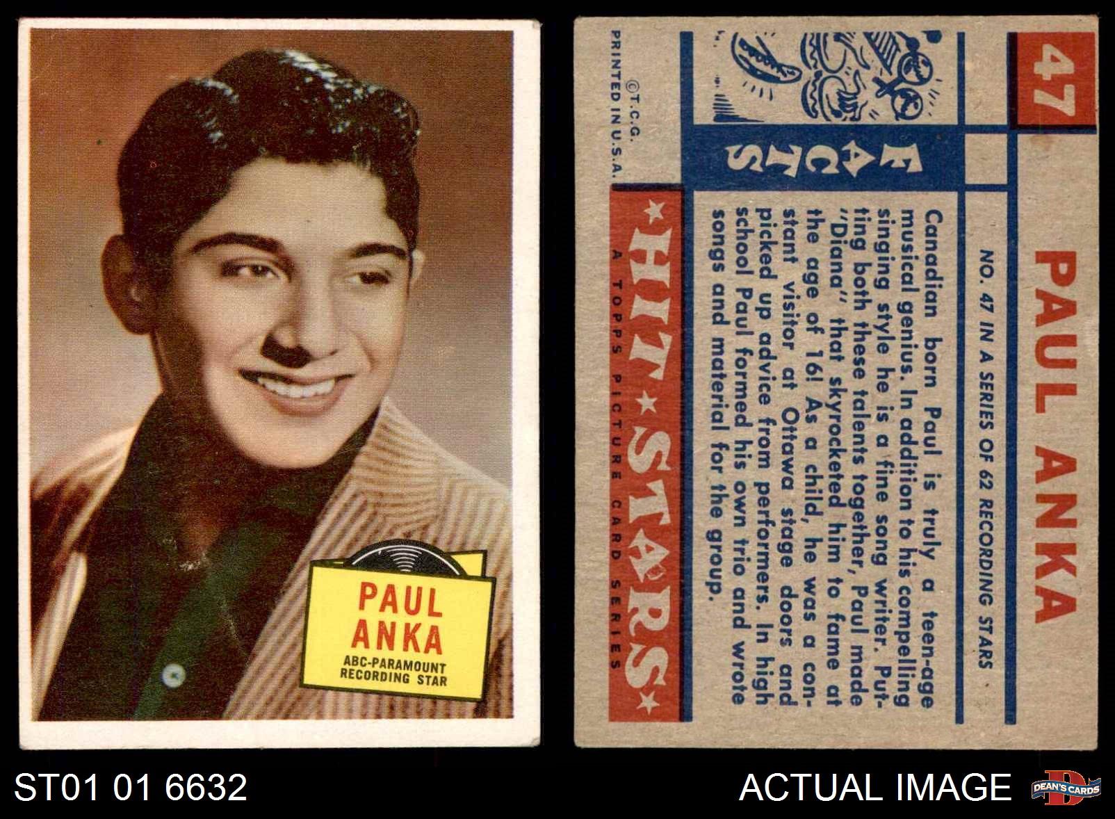 1957 Topps Hit Stars #47 Paul Anka  VG//EX