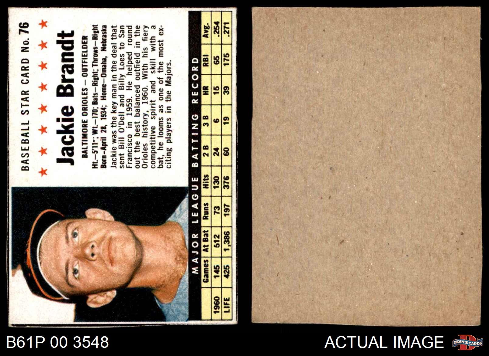 1961 Post #76 Jackie Brandt  Hand Cut Orioles VG//EX