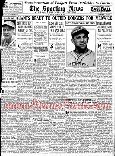 1939 The Sporting News   August 10  - Tony Cuccinello / Bill Klem
