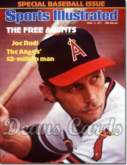 1977 Sports Illustrated - With Label   April 11  -  Joe Rudi (California) (Baseball Issue)