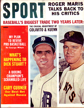 1962 Sport Magazine   -  Rocky Colavito / Harvey Kuenn  August