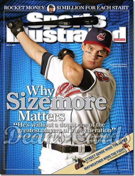 2007 Sports Illustrated - With Label   May 14  -  Grady Sizemore Cleveland Indians