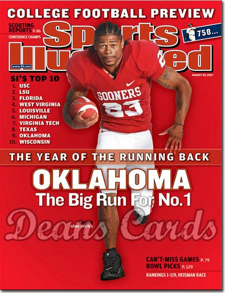 2007 Sports Illustrated - With Label   August 21  -  Allen Patrick OU Sooners Regional SI