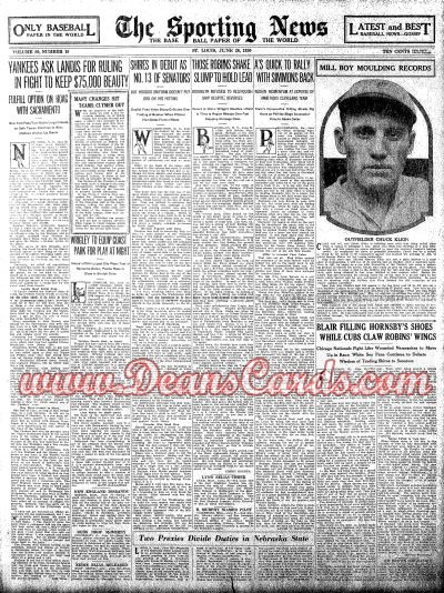 1930 The Sporting News   June 26  - Chuck Klein