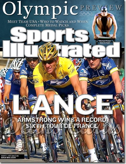 2004 Sports Illustrated   August 2  -  Michael Phelps Olympic Preview Lance Armstrong Wins 6th Tour