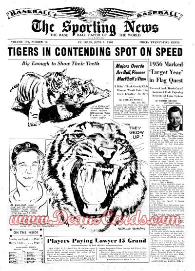 1955 The Sporting News   June 1  - Al Kaline / Harvey Kuenn