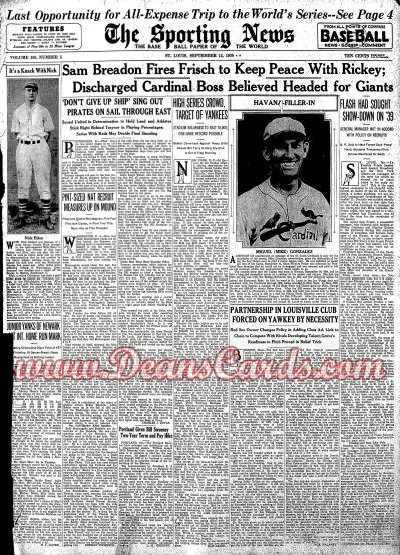 1938 The Sporting News   -  Red Ruffing September 15  - Charles Red Ruffing