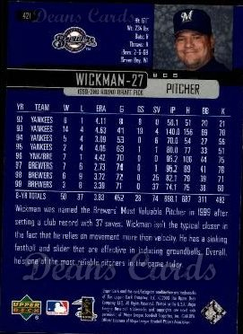 2000 Upper Deck #421  Bob Wickman