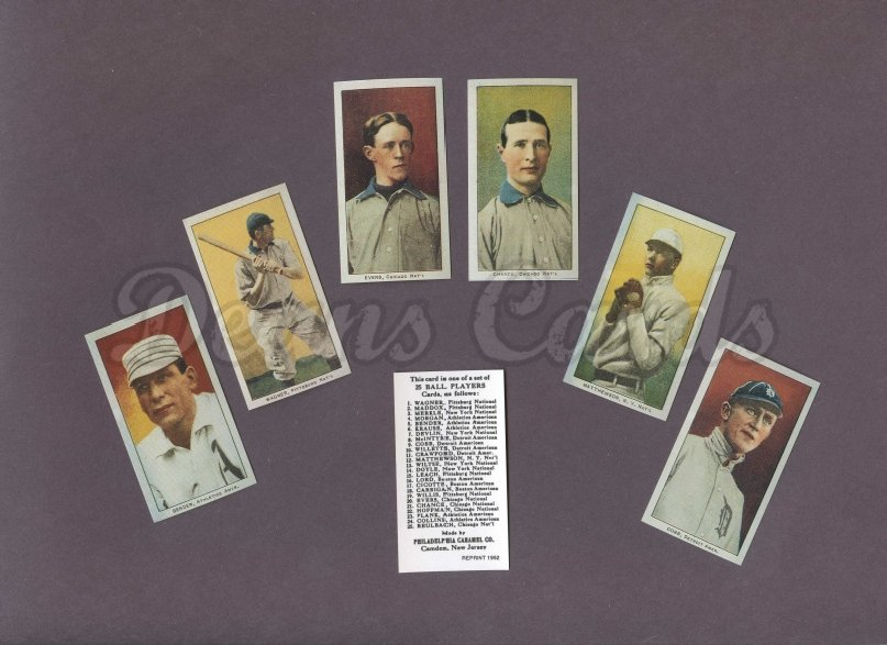 1909 E95 Philadelphia Caramel Reprints    E95 Philadelphia Caramels Reprint Complete Set