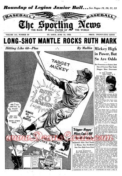 1956 The Sporting News   June 13  - Mickey Mantle / Lou Boudreau