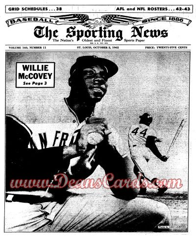 1965 The Sporting News   October 2  - Willie McCovey / Al Kaline