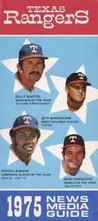 1975  Rangers Media Guide - Billy Martin Jeff Burroughs Ferguson Fergie Jenkins & Mike Hargrove on cover