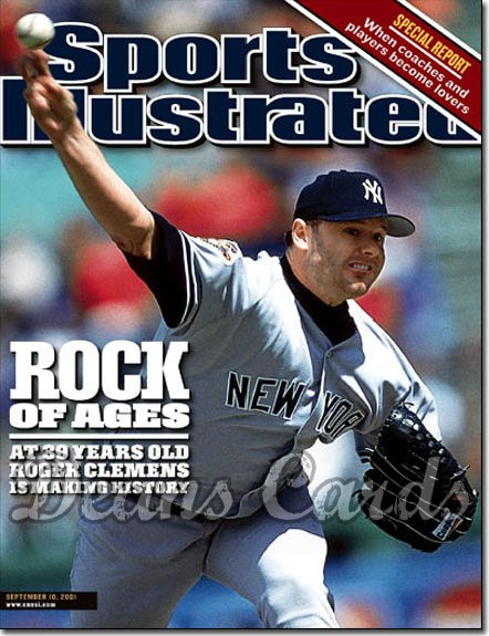 2001 Sports Illustrated - With Label   September 10  -  Roger Clemens NY Yankees