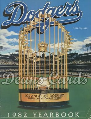1982 Los Angeles Dodgers Yearbook - World Series trophy