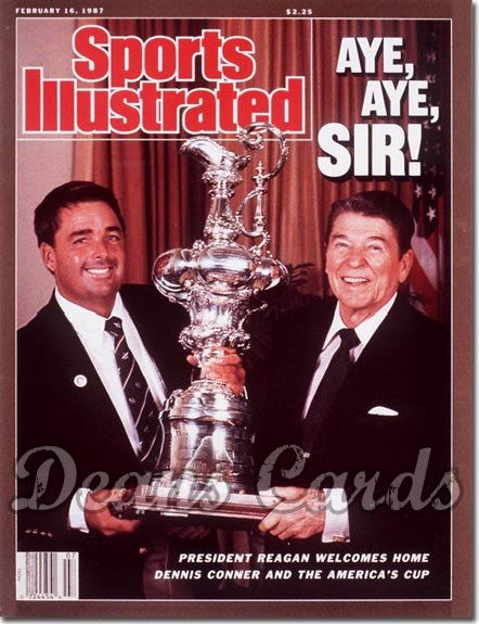 1987 Sports Illustrated - With Label   February 16  -  Ronald Reagan/Dennis Connor (America's Cup Yachting)