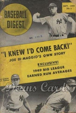 1949 Baseball Digest   -  Vic Raschi  September