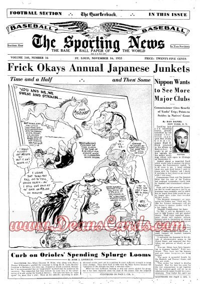 1955 The Sporting News   November 16  - Cy Young dies / Leo Durocher