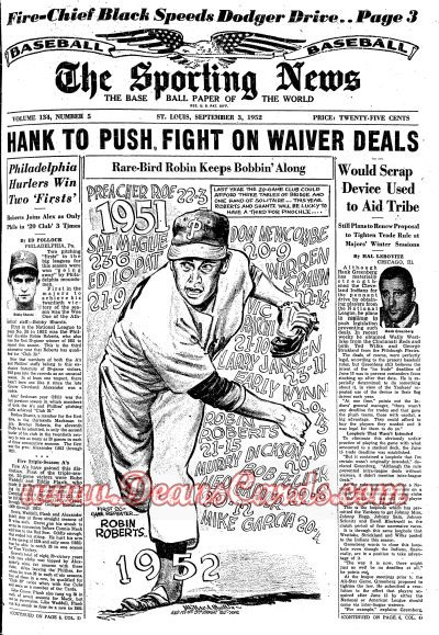 1952 The Sporting News   September 3  - Robin Roberts / Virgil Trucks no hitter / Mickey Mantle