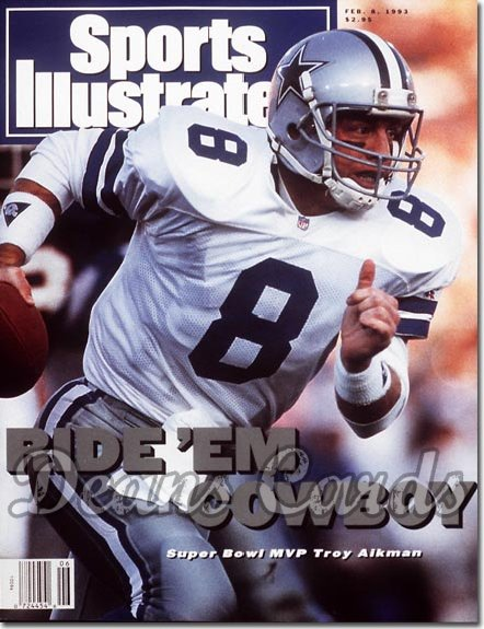 1993 Sports Illustrated - With Label   February 8  -  Troy Aikman (Dallas Cowboys) (Super Bowl XXVII)