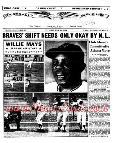 1964 The Sporting News   July 11  - Willie Mays / All-Star Game Issue