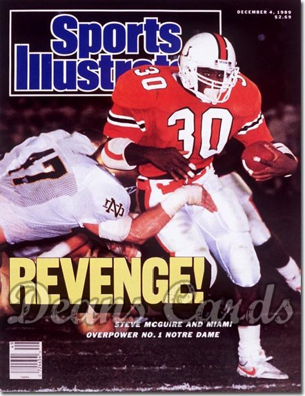 1989 Sports Illustrated - With Label   December 4  -  Steve Mc Guire (Miami Hurricanes)