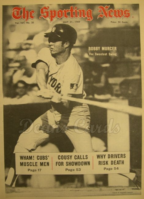 1969 The Sporting News   May 31  - Bobby Murcer / Napoleon Lajoie