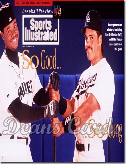1994 Sports Illustrated - With Label   April 4  -  Ken Griffey Jr. & Mike Piazza Mariners & Dodgers
