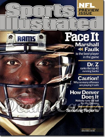 2001 Sports Illustrated   September 3  -  Marshall Faulk St. Louis Rams (NFL Preview)