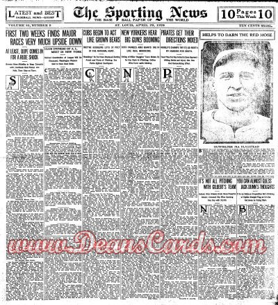 1926 The Sporting News   April 29  - Hugh Fullerton's Predictions