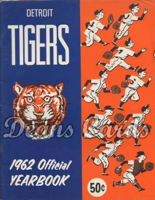 1962 Detroit Tigers Yearbook - Tiger head and nine players