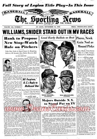 1955 The Sporting News   September 14  - Ted Williams