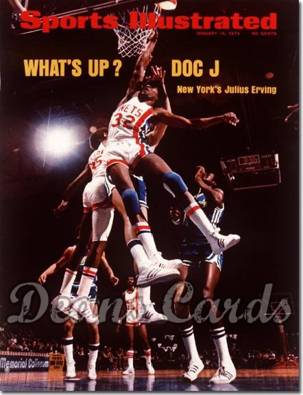 1974 Sports Illustrated - With Label   January 14  -  Julius Erving (New Jersey Nets) (1st Cover)
