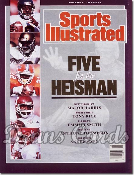 1989 Sports Illustrated - With Label   November 27  -  Emmitt Smith Andre Ware & Tony Rice Heisman Issue