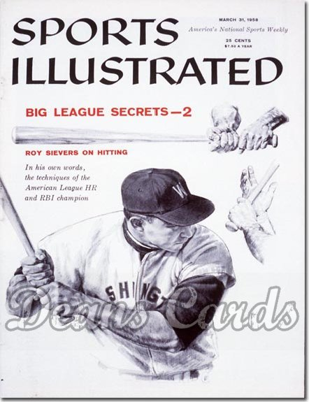1958 Sports Illustrated   March 31  -  Roy Sievers (Washington Senators)