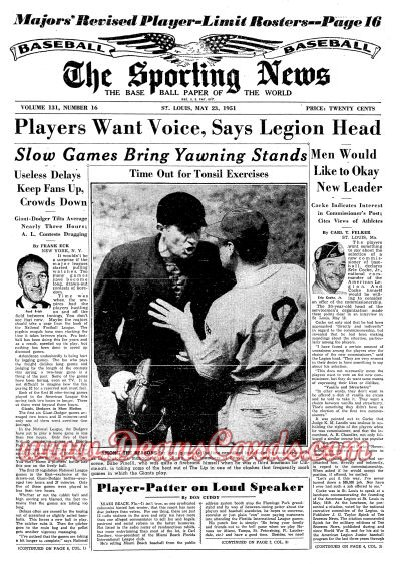 1951 The Sporting News   May 23  - Leo Durocher / Ed Lopat