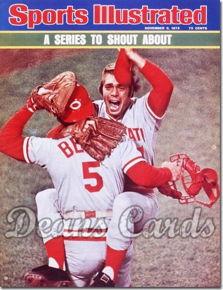 1975 Sports Illustrated - With Label   November 3  -  Johnny Bench & Will Mc Enaney Cincinnati Reds World Series