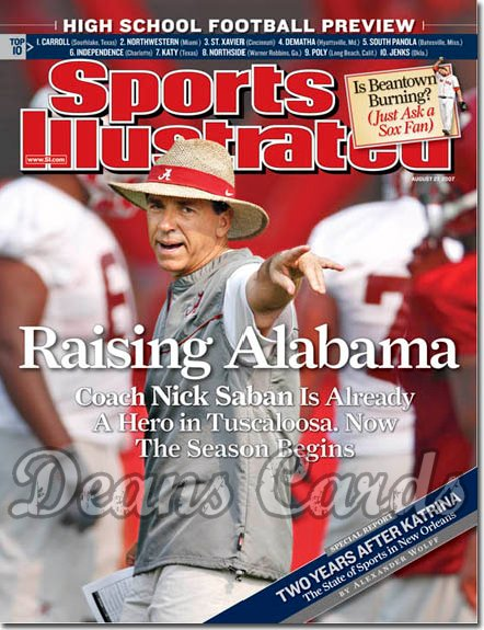 2007 Sports Illustrated - With Label   August 27  -  Nick Saban Football Alabama