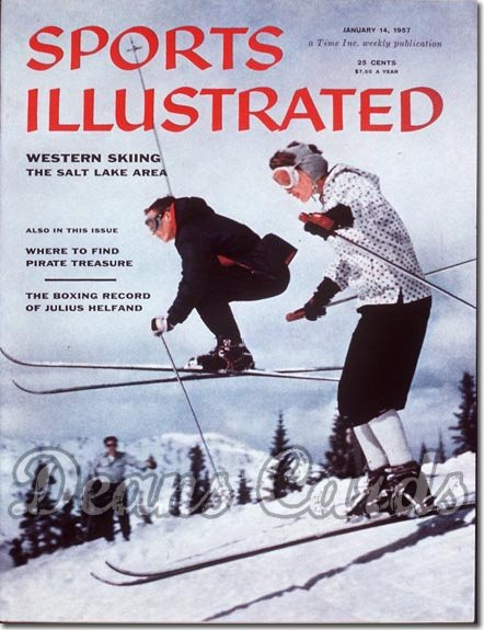 1957 Sports Illustrated - With Label   January 14  -  Wes & Betty Sime Skiing/Skiers