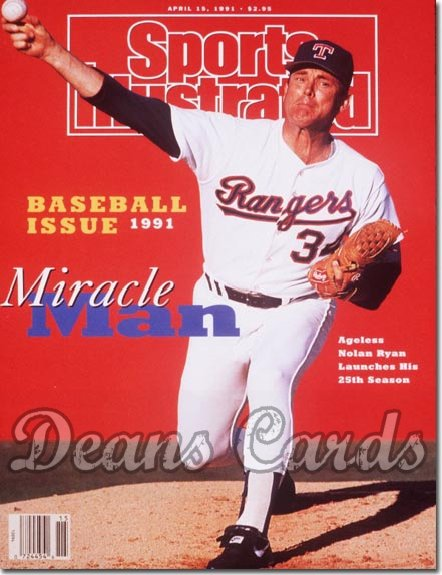 1991 Sports Illustrated - With Label   April 15  -  Nolan Ryan (Texas Rangers)