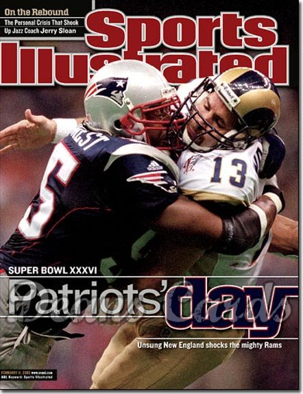 2002 Sports Illustrated - With Label   February 11  -  Willie McGinnest & Kurt Warner vs Patrots
