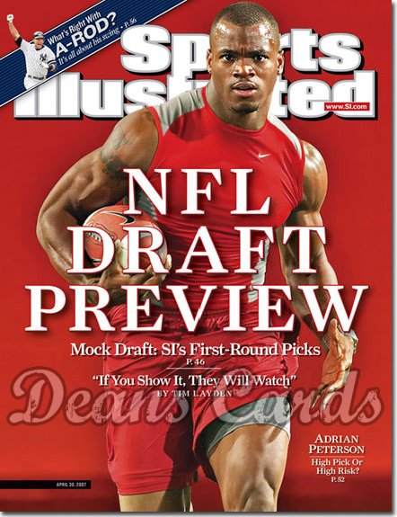 2007 Sports Illustrated - With Label   April 30  - Adrian Peterson OU Sooners NFL Draft SI