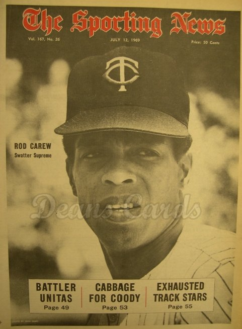 1969 The Sporting News   July 12  - Rod Carew / Lefty Grove