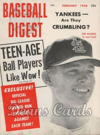 1958 Baseball Digest   -  Lindy McDaniel  February