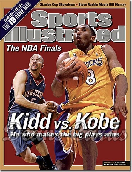 2002 Sports Illustrated - With Label   June 10  -  Jason Kidd New Jersey Nets Kobe Bryant LA Lakers