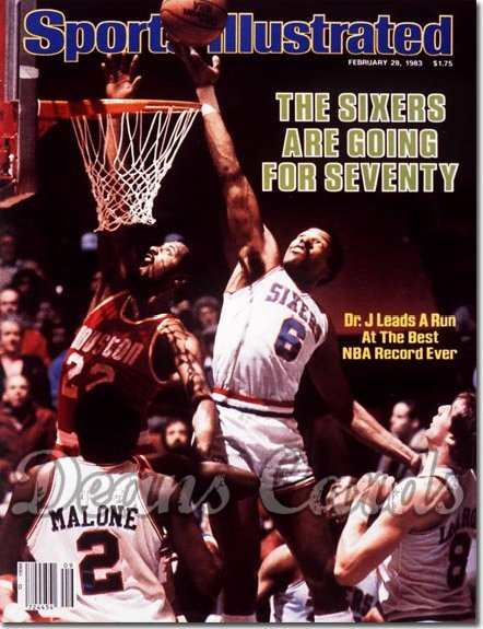 1983 Sports Illustrated - With Label   February 28  -  Julius Erving & Moses Malone (Philadelphia 76ers)