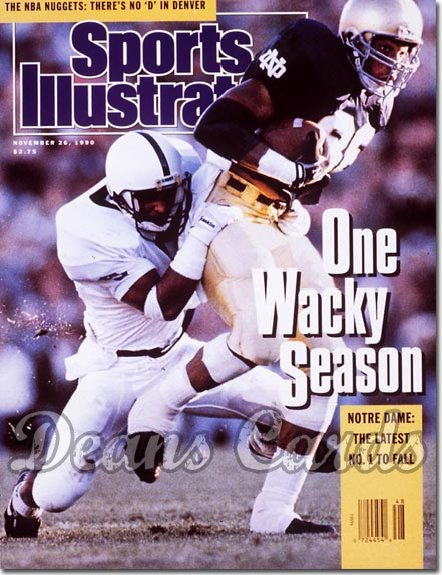 1990 Sports Illustrated - With Label   November 26  -  Notre Dame Fighting Irish vs. Penn State Nittany Lions