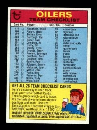 1974 Topps  Checklist   Oilers
