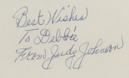 Judy Johnson Autographed Index Card 1
